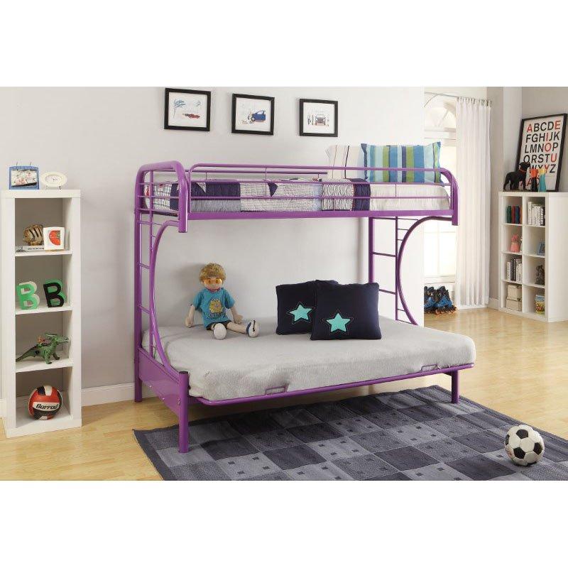 HomeRoots Furniture Twin/Full/Futon Bunk Bed, Purple - Metal Tube Purple (286587)
