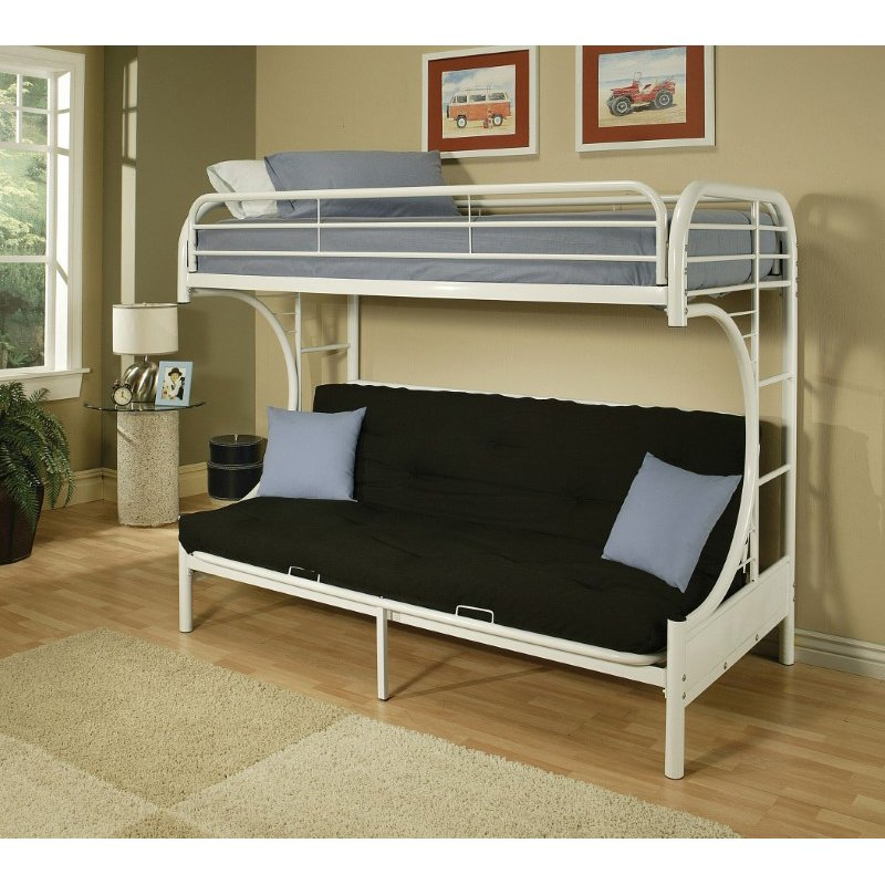 HomeRoots Furniture Twin/Full/Futon Bunk Bed, White - Metal Tube White (285192)