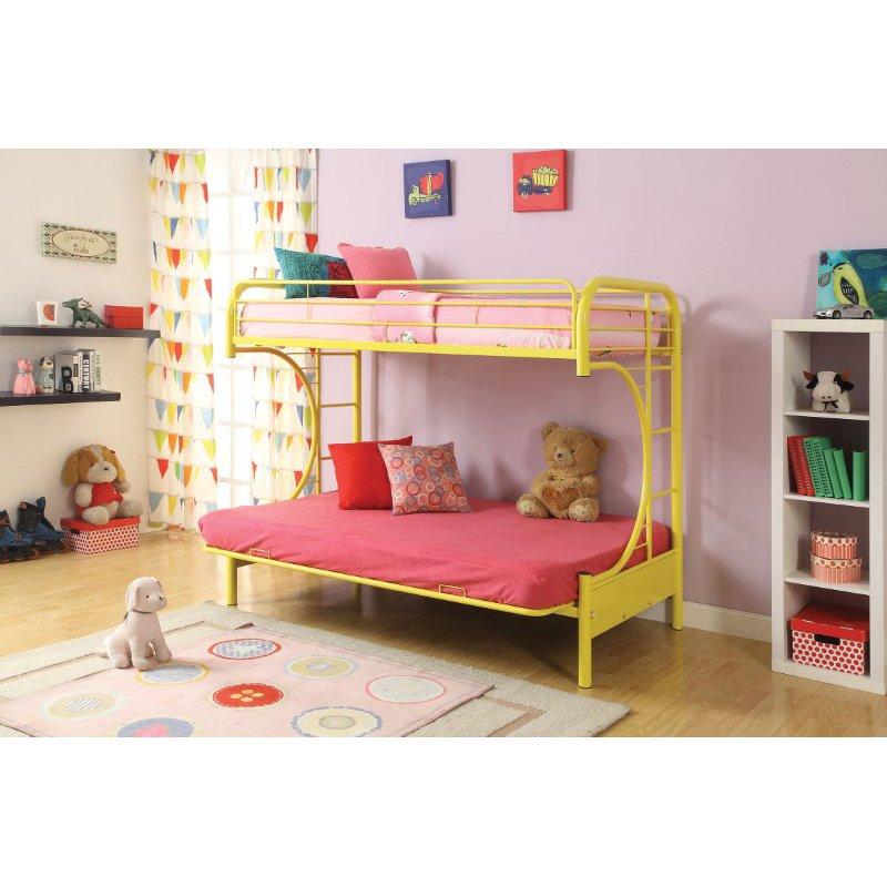 HomeRoots Furniture Twin/Full/Futon Bunk Bed, Yellow - Metal Tube Yellow (285193)