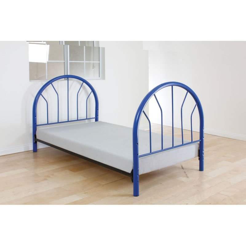 HomeRoots Furniture Twin Headboard and Footboard Only, Blue - Metal Tube Blue (286581)