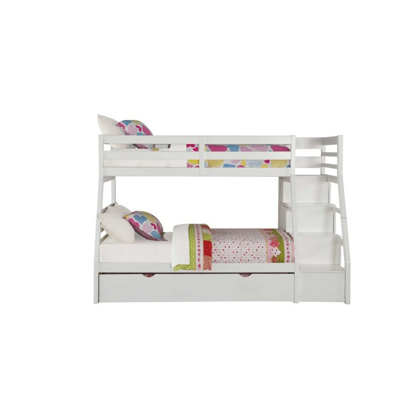 HomeRoots Furniture Twin Over Full Bunkbed with Storage Ladder and Trundle in White - Pine Wood, MDF, Plywood White (286160)