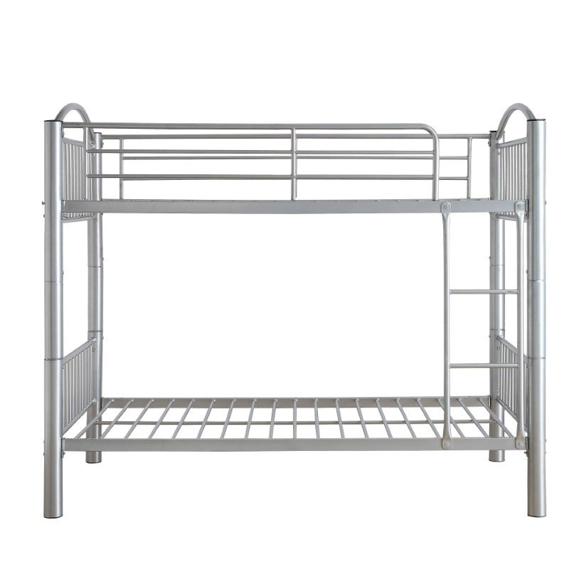 HomeRoots Furniture Twin Over Twin Bunkbed in Silver - Metal Silver (286164)