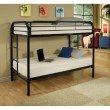 HomeRoots Furniture Twin/Twin Bunk Bed, Black - Metal Tube Black (285197)