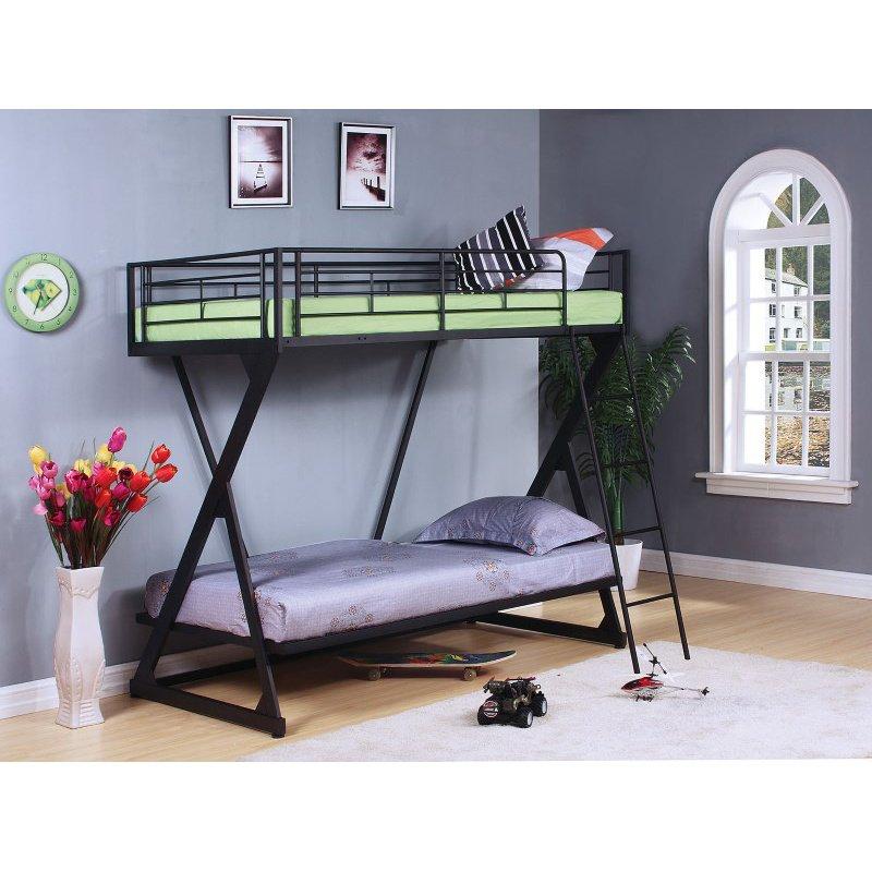 HomeRoots Furniture Twin/Twin Bunk Bed, Sandy Black - Steel Tube Sandy Black (285586)