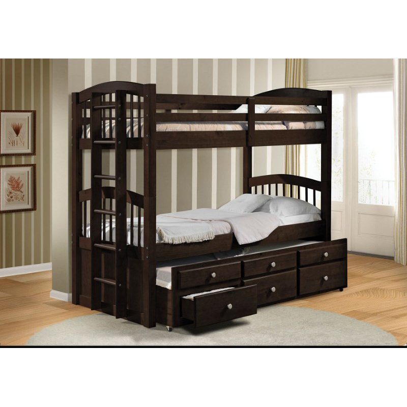 HomeRoots Furniture Twin/Twin Bunk Bed & Trundle with 3 Drawer, Espresso - Pine Wood (Solid), Metal Espresso (285935)