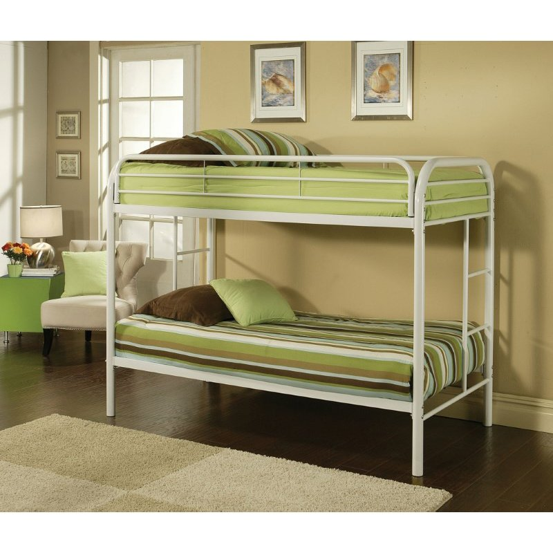 HomeRoots Furniture Twin/Twin Bunk Bed, White - Metal Tube White (285202)