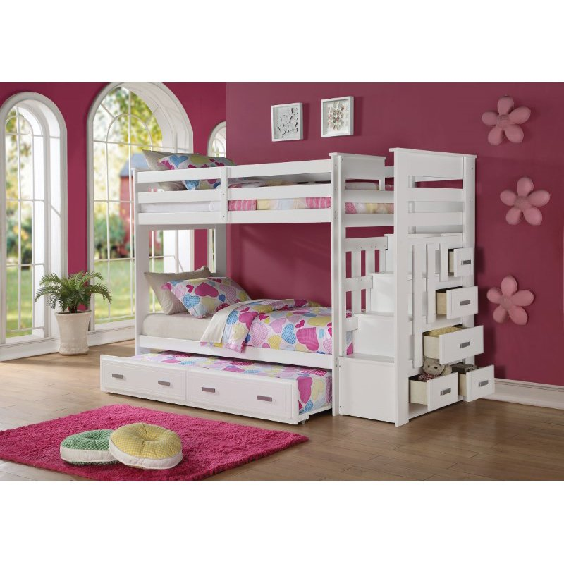 HomeRoots Furniture Twin/Twin Bunk Bed with Storage Ladder & Trundle, White - Pine Wood, Plywoodwood, M White (285615)