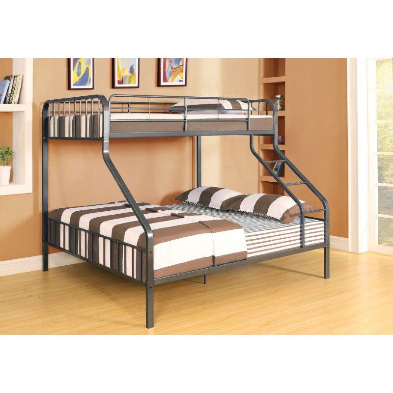 HomeRoots Furniture Twin XL/Queen Bunk Bed, Gunmetal - Metal Tube (Steel) Gunmetal (285316)