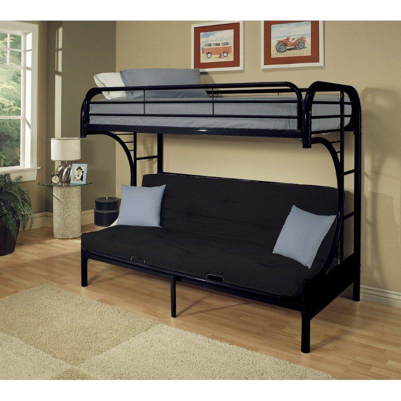 HomeRoots Furniture Twin Xl/Queen/Futon Bunk Bed, Black - Metal Tube Black (285194)