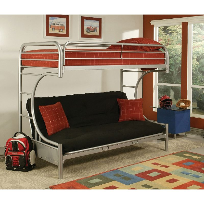 HomeRoots Furniture Twin Xl/Queen/Futon Bunk Bed, Silver - Metal Tube Silver (285196)