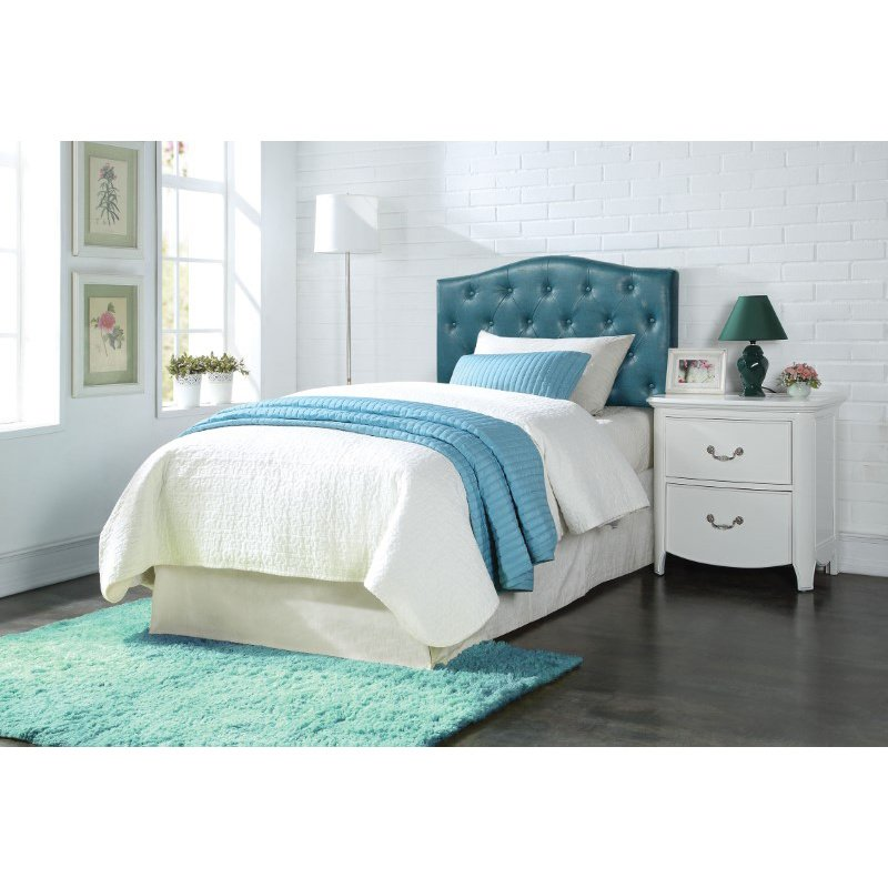 HomeRoots Furniture Viola Twin Headboard Only, Blue PU (285336)