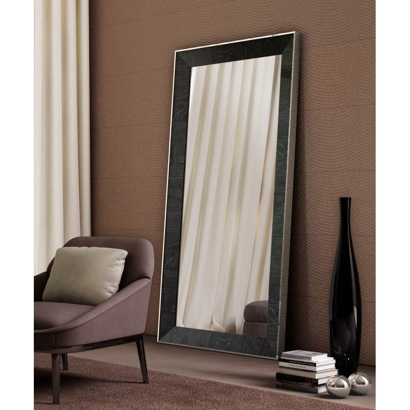 HomeRoots Furniture Wall Mirror High Gloss Grey Stainless Steel Frame (320807)