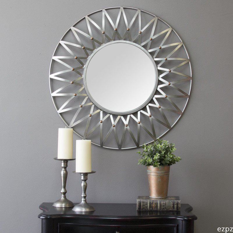 """HomeRoots Furniture Wall Mirror Metal with A Silver Finish & Copper """"Buttons"""" (321184)"""