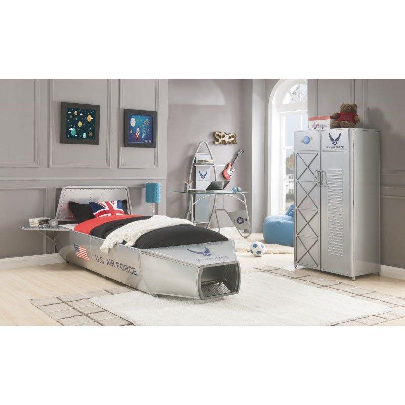 HomeRoots Furniture Wardrobe in Silver - Metal (318767)