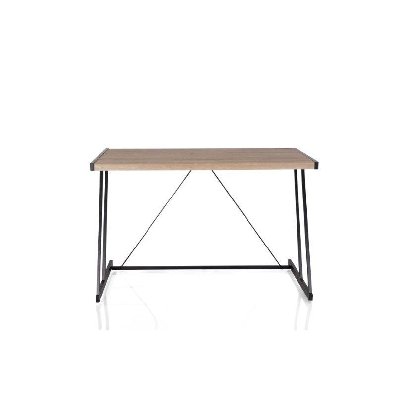 HomeRoots Furniture Writing Desk with Usb Dock in Light Oak and Black - MDF, Metal Light Oak and Black (286400)