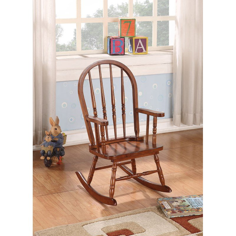 HomeRoots Furniture Youth Rocking Chair, Tobacco - Rubber Wood (Solid) & Ply Tobacco (285705)