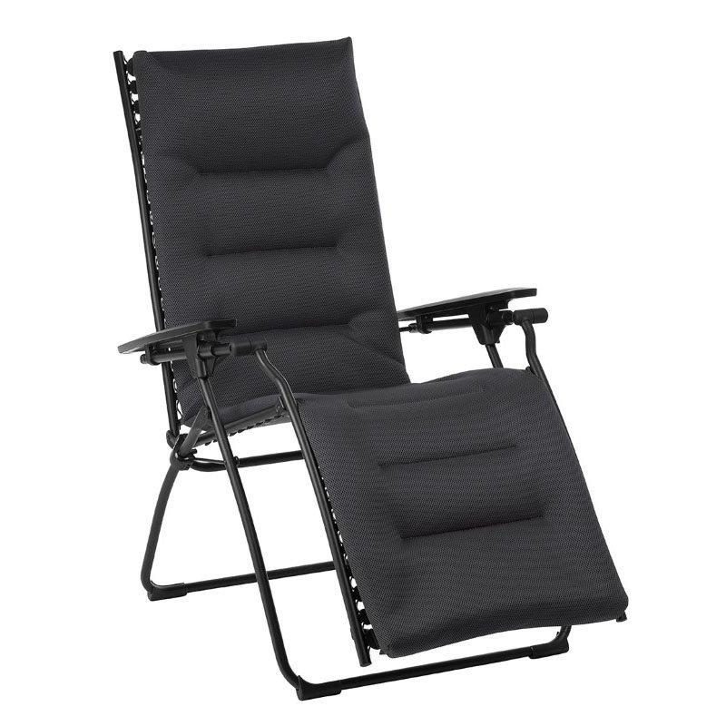 HomeRoots Furniture Zero Gravity Recliner - Black Steel Frame - Acier Duo Fabric (320608)