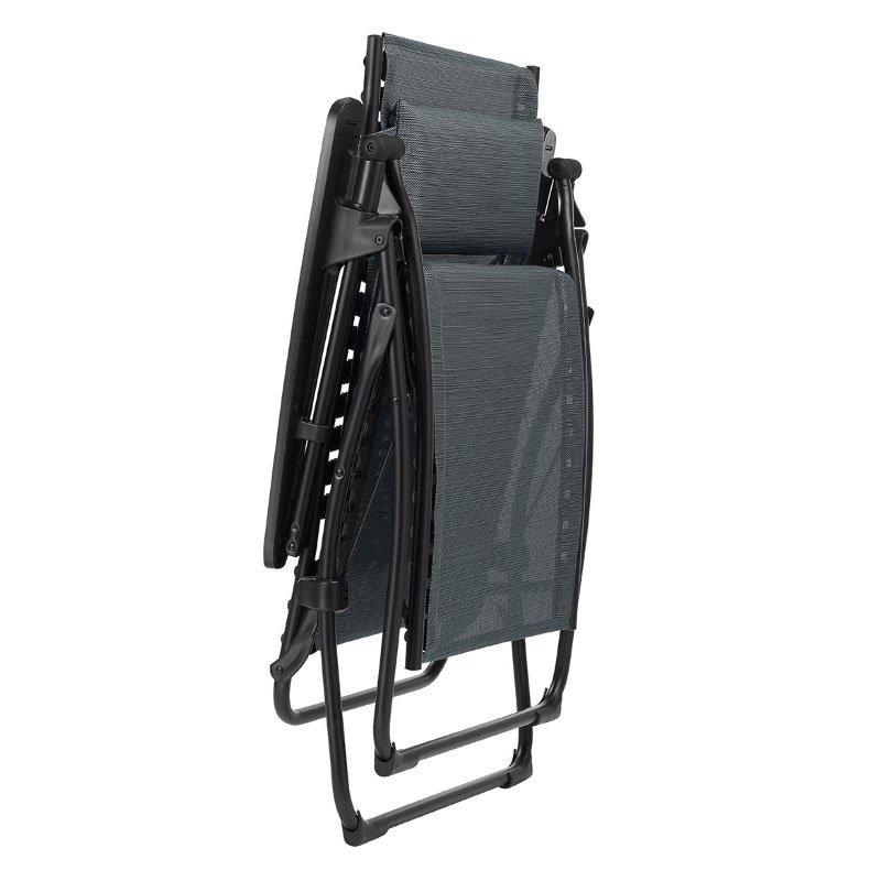 HomeRoots Furniture Zero Gravity Recliner - Black Steel Frame - Obsidian Duo Fabric (320607)