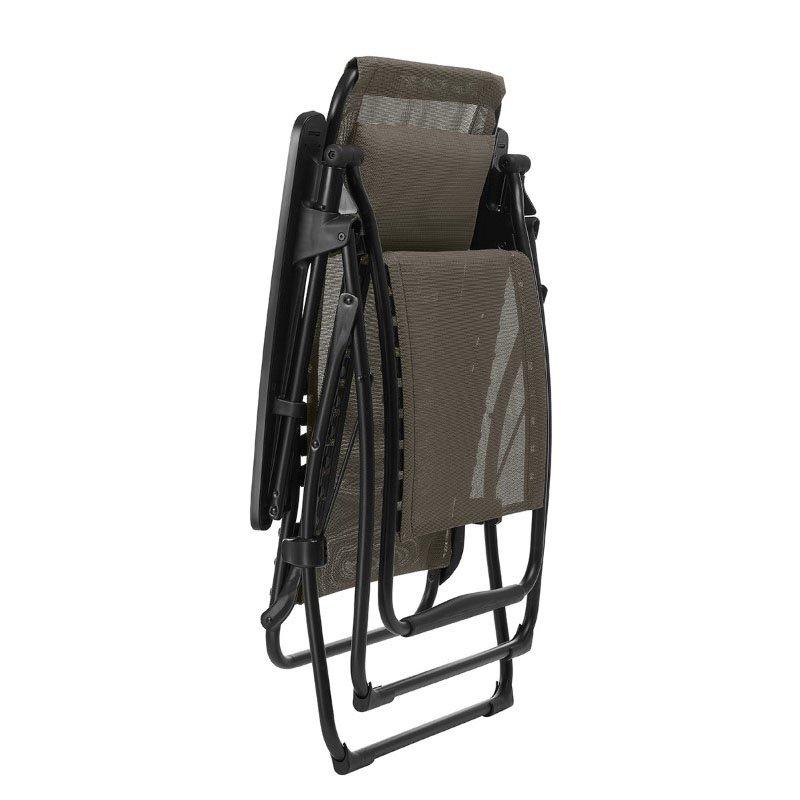 HomeRoots Furniture Zero Gravity Recliner - Black Steel Frame - Wood Duo Fabric (320597)