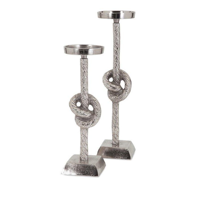 IMAX Aluminum Rope Candleholders - Set of 2 (60354-2)