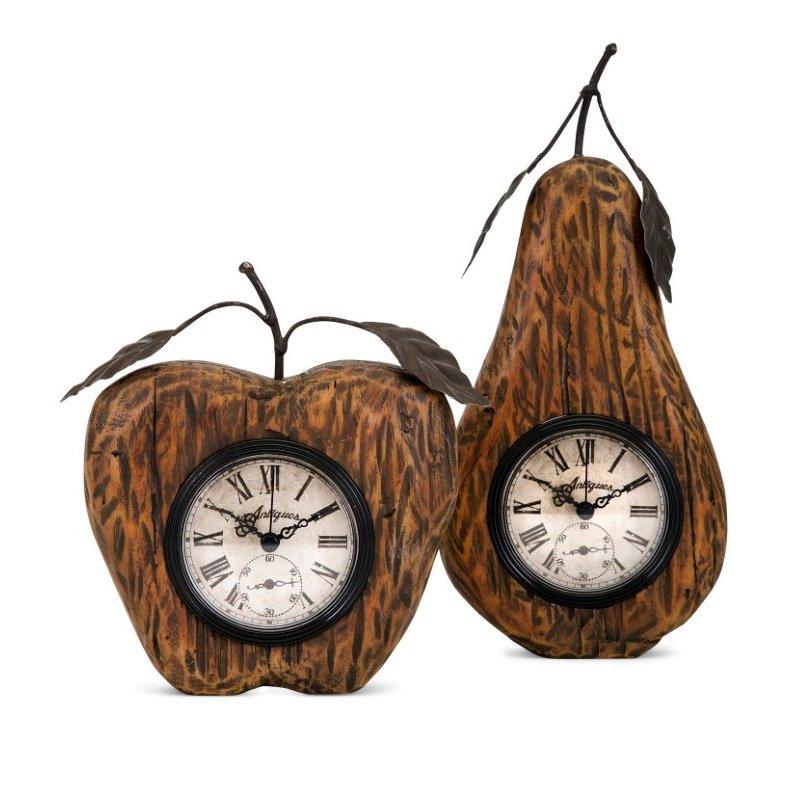 IMAX Apple and Pear Desk Clocks - Set of 2 (18325-2)