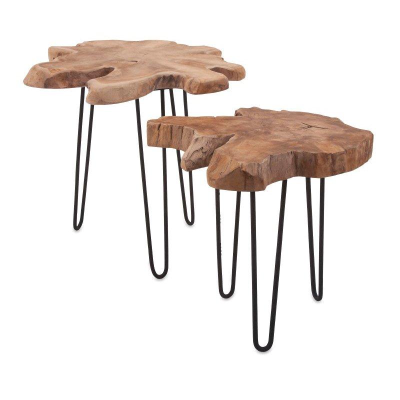 IMAX Baltra Teak Wood Nesting Tables - Set of 2 (10236-2)