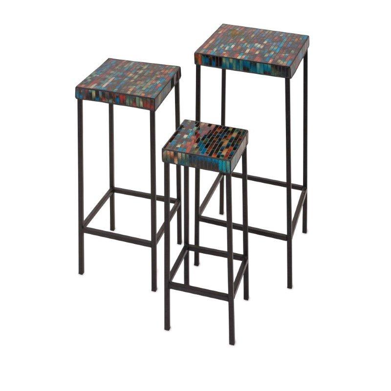 IMAX Barcelona Mosaic Glass Tables - Set of 3 (95532-3)