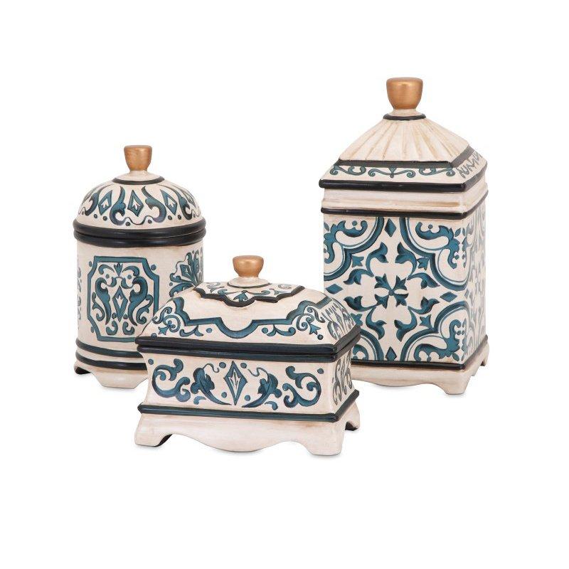 IMAX Beth Kushnick Hand-painted Ceramic Boxes - Set of 3 (19136-3)