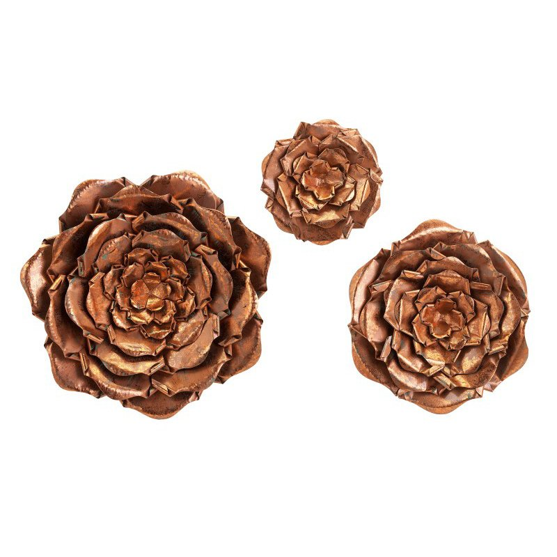 IMAX Blayney Metal Wall Flowers - Set of 3 (83405-3)