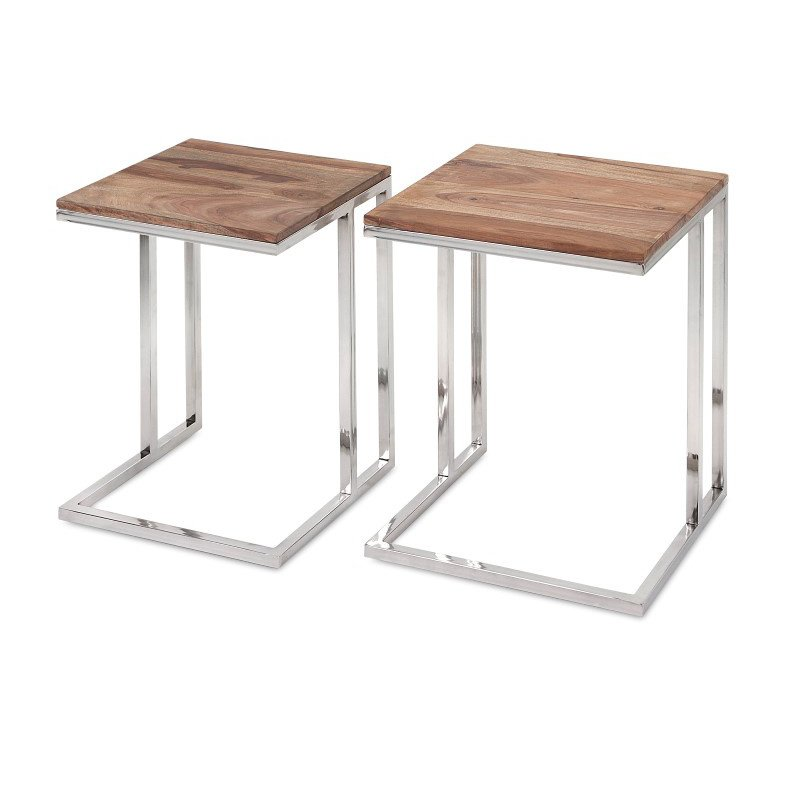 IMAX Cairo Stainless Steel Occasional Tables - Set of 2 (83227-2)