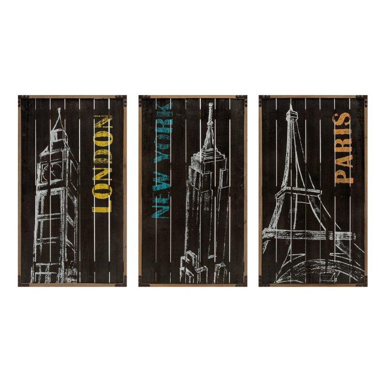 IMAX City Chalk Art Decor - Set of 3 (A0374420)