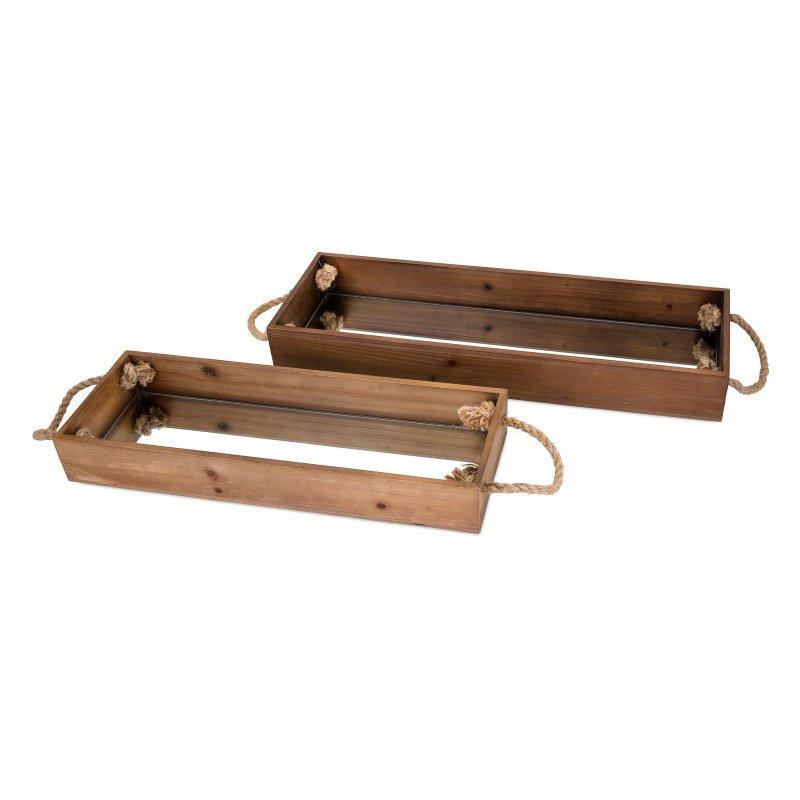 IMAX Concepts Eden Wood Decorative Trays - Set of 2 (14365-2)