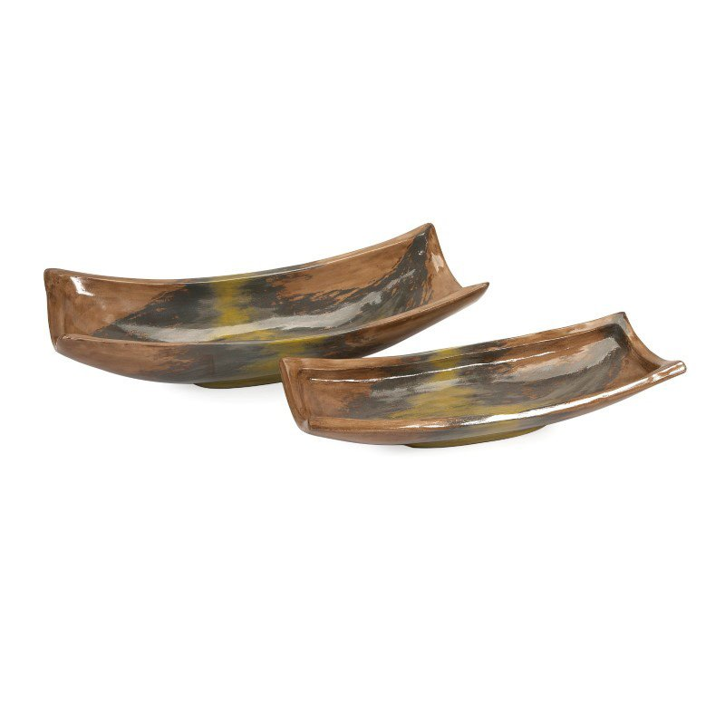 IMAX Eslabon Oversized Mexican Pottery Trays - Set of 2 (84639-2)