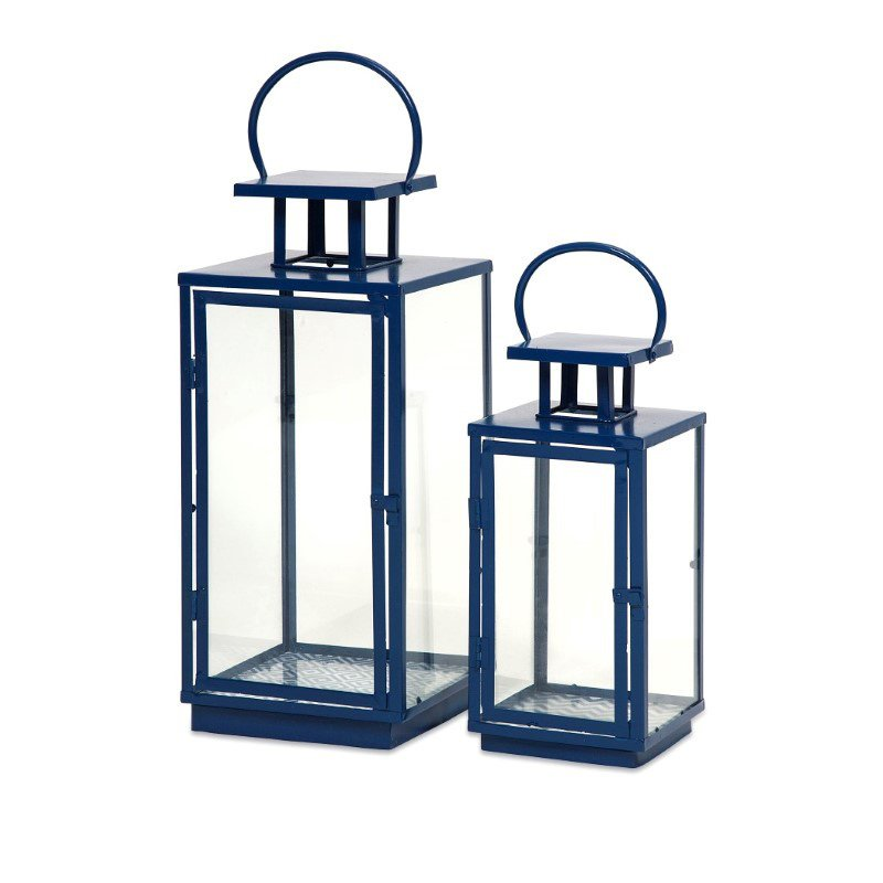 IMAX Essentials Marine Blue Lanterns - Set of 2 (47530-2)