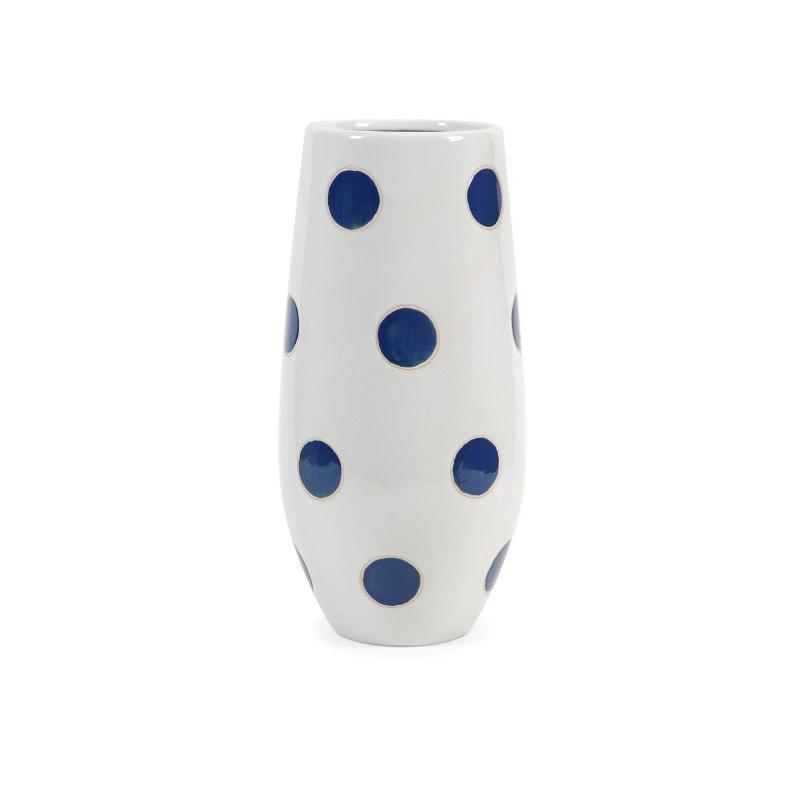 IMAX Essentials Marine Blue Polka-Dot Vase (25266)