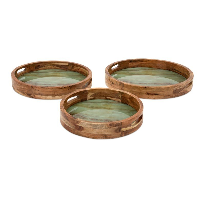 IMAX Faux Marble and Wood Decorative Trays - Set of 3 (14265-3)