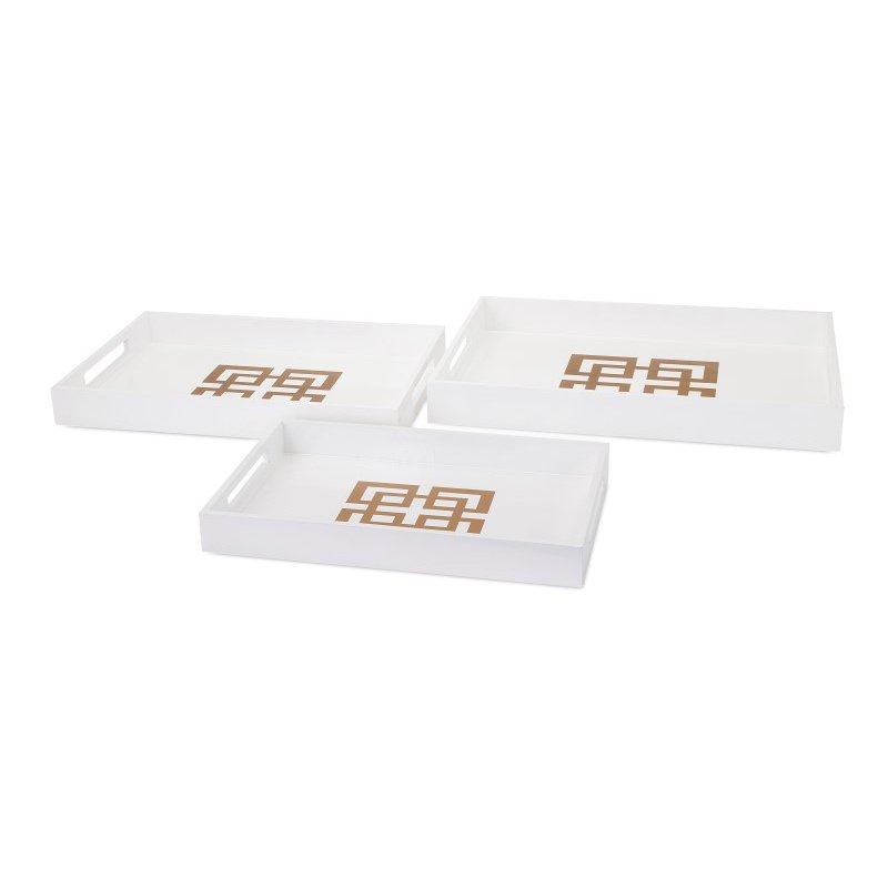 IMAX Giselle White Lacquer Trays - Set of 3 (65112-3)