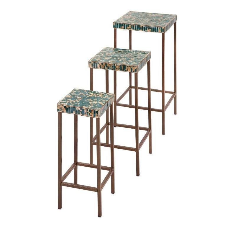 IMAX Glacier Mosaic Tables - Set of 3 (80041-3)