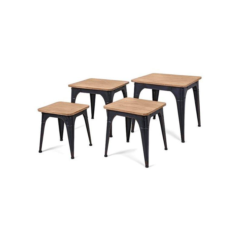 IMAX Harlow Wood and Metal Nesting Display Tables - Set of 4 (80414-4)