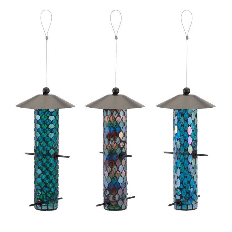 IMAX Joliet Mosaic Glass Bird Feeders - Set of 3 (A0395546)