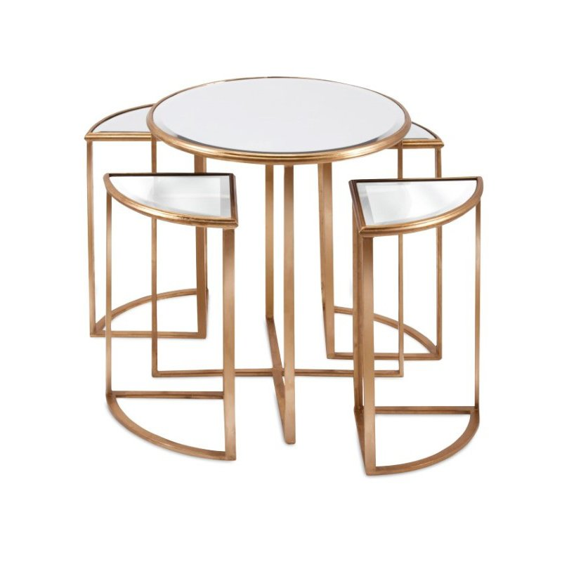 IMAX Limba Mirror Accent Tables - Set of 5 (47648-5)