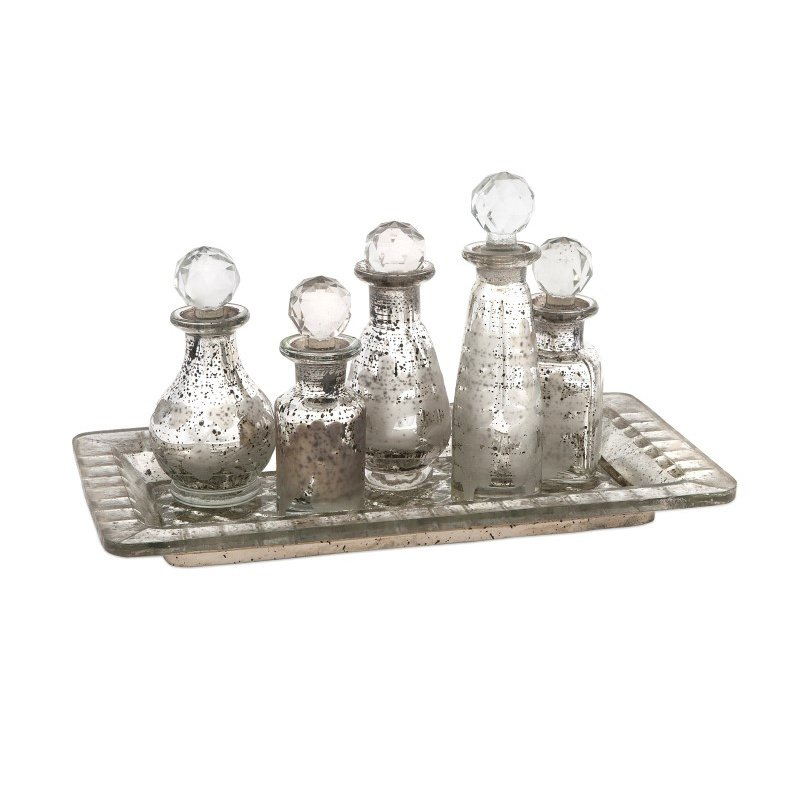 IMAX Macaire Mini Bottles with Trays - Set of 6 (62161-6)