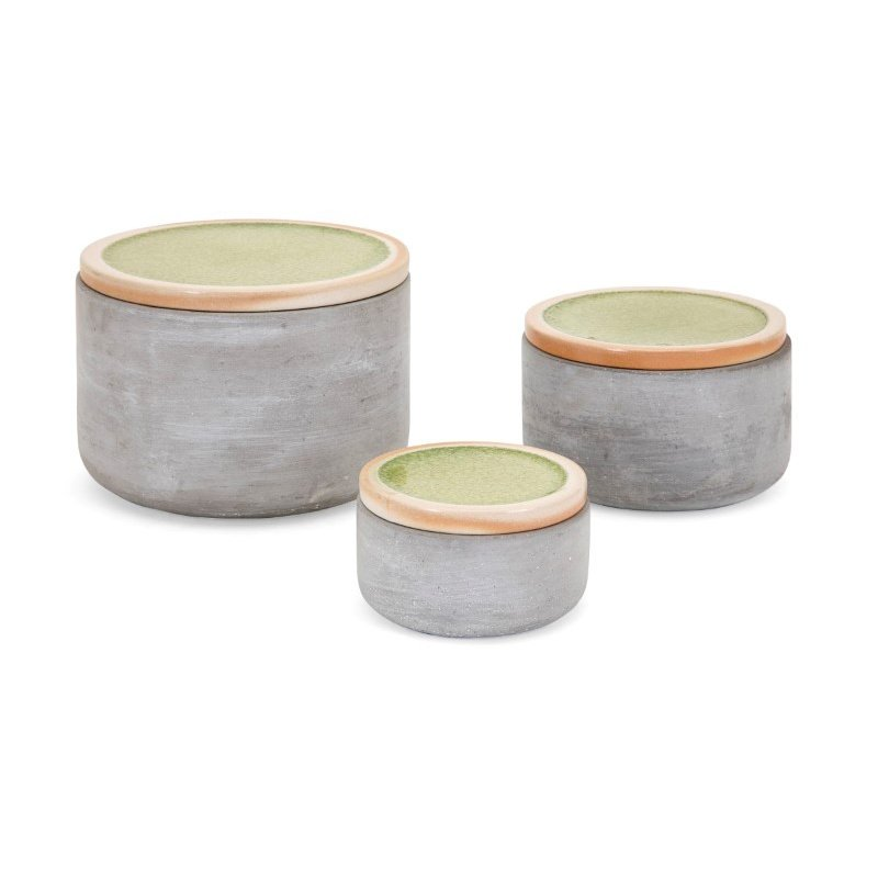IMAX Molly Cement Lidded Boxes - Set of 3 (14575-3)