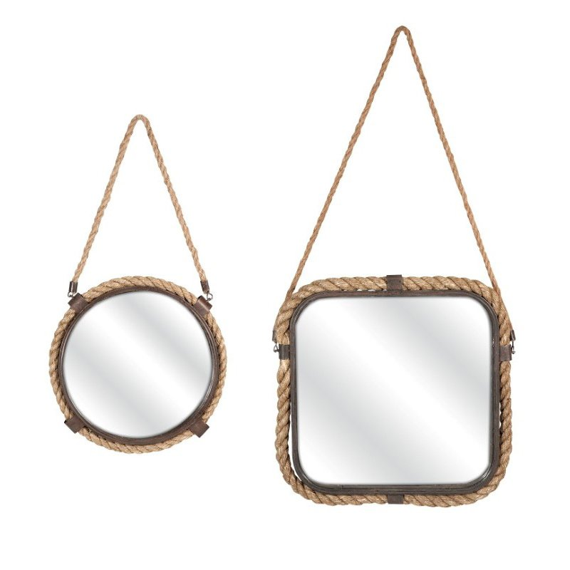 IMAX Molyneux Jute and Metal Mirrors - Set of 2 (74272-2)