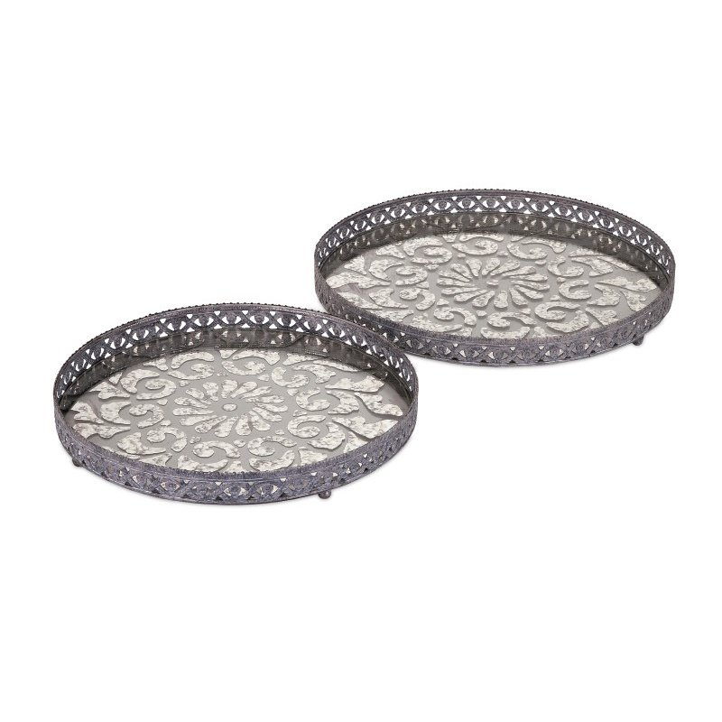 IMAX Myers Glass and Metal Trays - Set of 2 (47613-2)