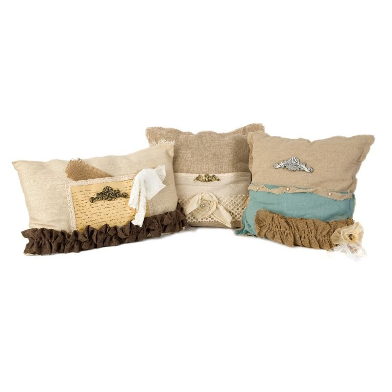 IMAX Teft Burlap Pillow - Set of 3 (70971-3)