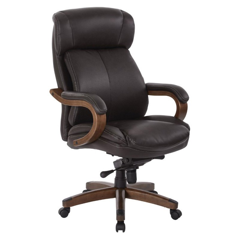 INSPIRED by Bassett Buchanan Bonded Leather Delux Knee Tilted Executive Chair in Espresso