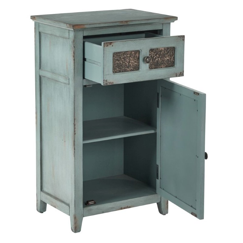 INSPIRED by Bassett Kenworth Storage Cabinet in Antique Aquamarine Finish