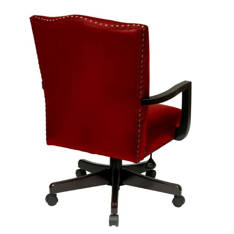 INSPIRED by Bassett Morgan Managers Chair with Thick Padded Bonded Leather Seat and Back with Steel Reinforced Wood Base in Crimson Red