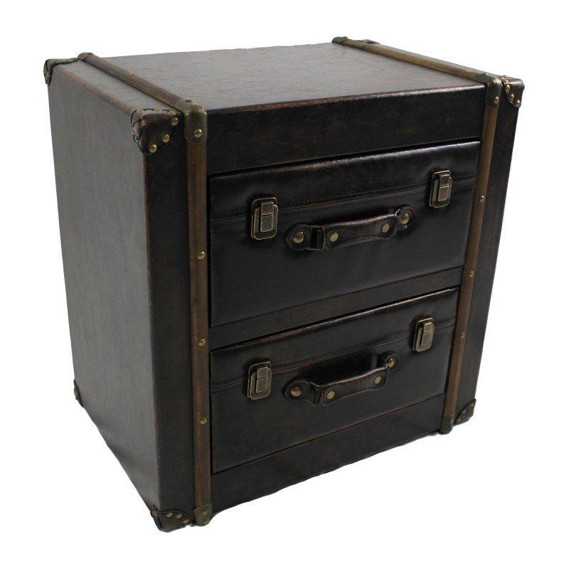 International Caravan 2-Drawer Faux Leather Chest in Antique Black